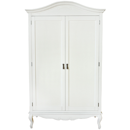 Rochelle Shabby Chic White Painted Double Wardrobe